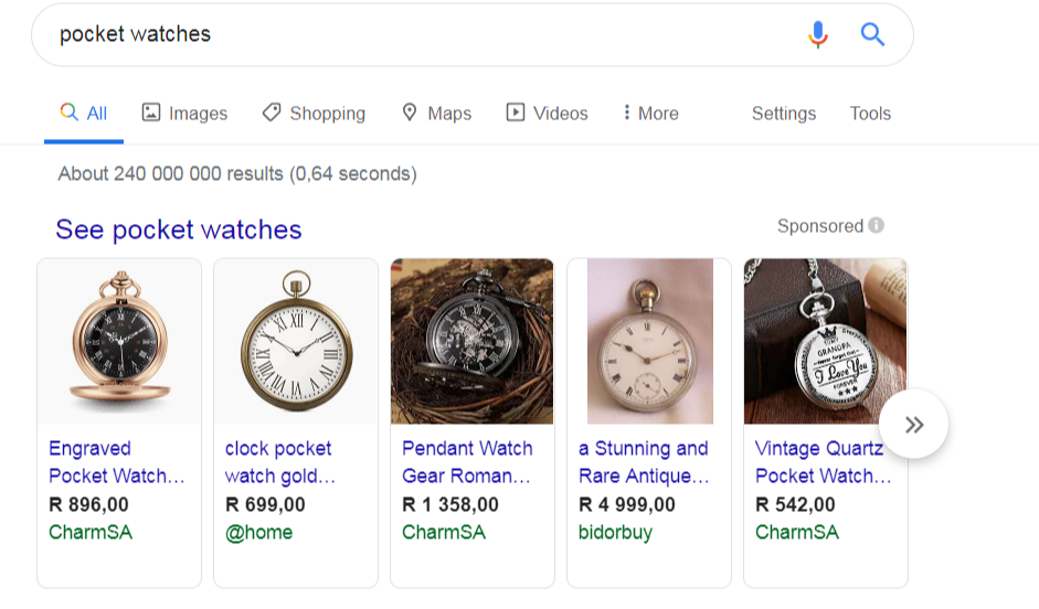 Pocket watches search engine query velocity media SEO Blog